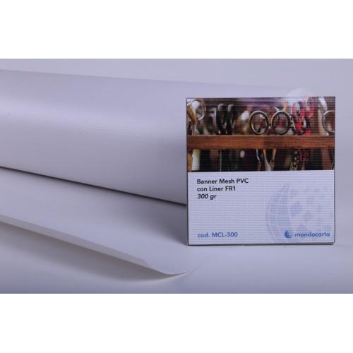 BANNER MESH PVC CON LINER FR1  1.10x50mt gr.300 Ø76