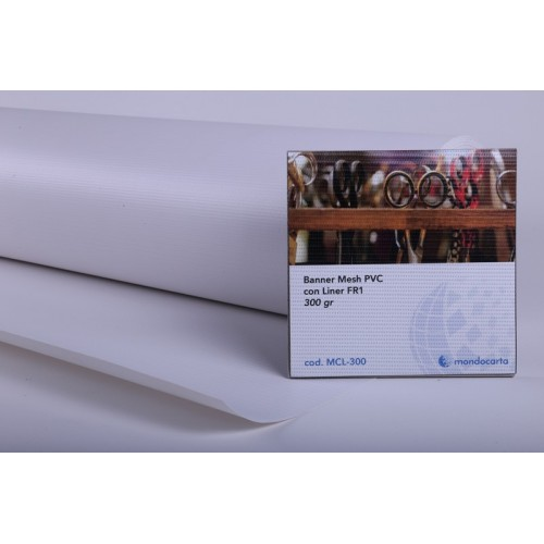 BANNER MESH PVC CON LINER FR1  1.37x30mt gr.300 Ø76