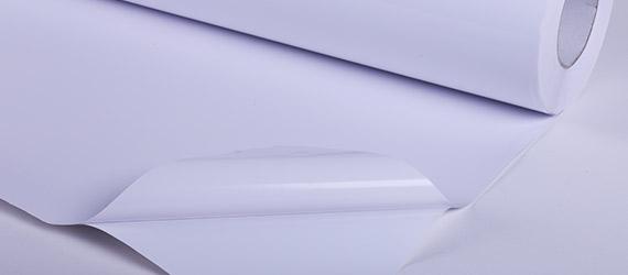 PVC Monomerico Bianco Glossy - 100 micron - colla trasparente - vinile adesivo - vinile monomerico - supporti stampa ecosolvente - mondocarta