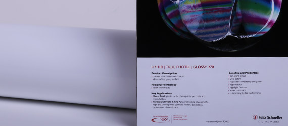 "Pe-Photo True Glossy ""H71110"" - supporto stampa a pigmento - carte fotografiche inkjet - RAG Photo True Photo - Felix Schoeller - mondocarta"